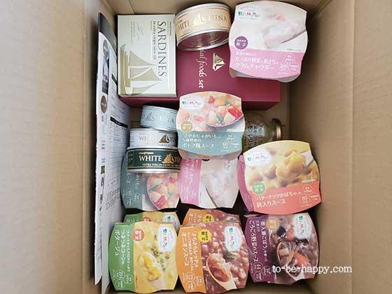 モンマルシェのツナ缶、サバ缶、オイルサーディン、野菜スープ